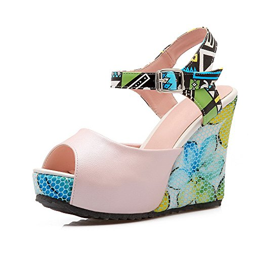 Heels Soft Toned Women's High Buckle Pink Peep Two Toe WeenFashion Material Sandals zYZfwq44