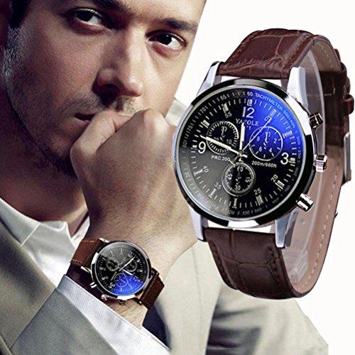 | KIOP Men's Luxury Fashion Faux Leather Mens Blue Ray Glass Quartz Analog Watches