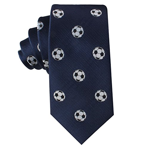 Soccer Football Fan Skinny Tie Mens Necktie | Soccer Ball Woven Neckties | Birthday Gift for Guys (Soccer) ()