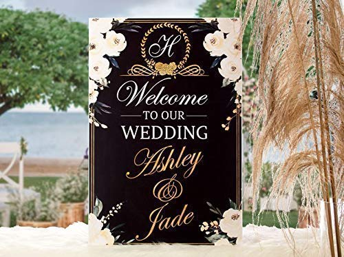 Monogram Wedding Theme Welcome Sign Size 24x18 Party Decorations Welcome Sign Handmade Party Supplies Handmade Decor Wedding Party Poster Wedding Decorations 36x24 and 48x36 Wedding Banner