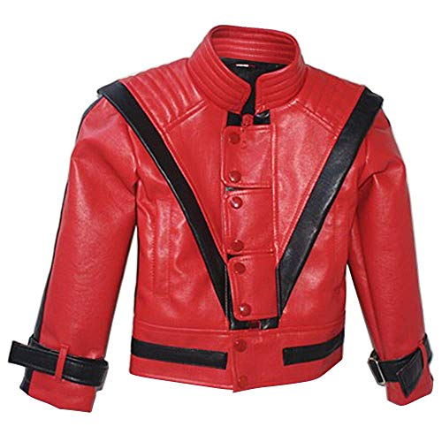 Michael Jackson Thriller Jacket Children Kids Jacket Costumes Gift for Perfromance Party Imitate Birthday (7T) Red -