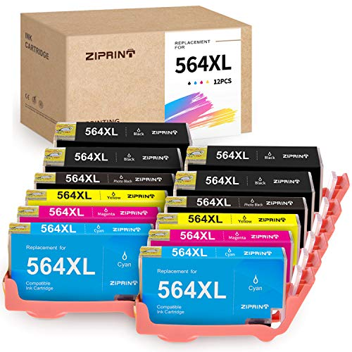 Ziprint Compatible Ink Cartridge Replacement for HP 564 XL 564XL for HP Officejet 4620, Deskjet 3520 3522,Photosmart 7510 7525 5510 5520 6510 Printer (12-Pack, with 2 Photo Black) (Hp 5510 Photosmart Printer)