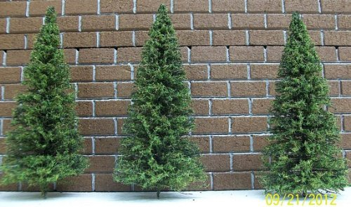 """Miniature Trees for Model Railroad Scenery, Train Layouts, Craft Projects,Diorama & Doll Houses / 9 Pack Each Pine Tree is Approximately 3"""" Tall"""