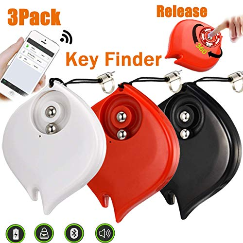 3 Pack Mini Smart Finder GPS Tracker Car Keys Wallet Dogs Cats Pet Light Anti-Lost Key Finder Alarm Locator Lost Keys Handbag APP Control Android iOS Outdoor Home Travel School Office Gifts by BSWEEII