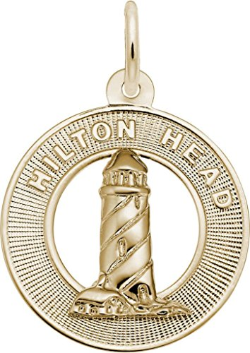 (Rembrandt Hilton Head, SC Lighthouse Charm - Metal - Gold-Plated Sterling Silver)