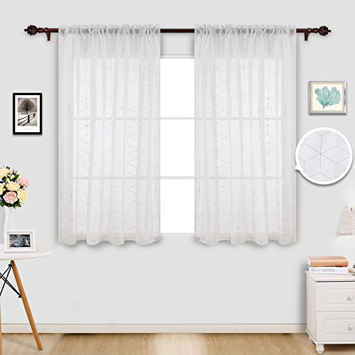 Deconovo Volie White Sheer Curtains Linen Look Diamond Window Panels Set of 2 for Bedroom, 52x63 Inch, Silver (Chambray Voile Rod Pocket)
