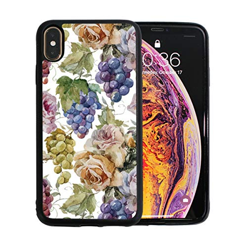 Purple Grapes and Roses Clear TPU Ultra Thin iPhone Xs Max Case Anti-Scratch Ultra-Thin Cover Case -