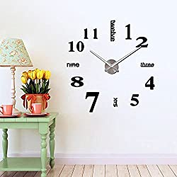 HIPPIH Frameless DIY Wall Clock Large 3D Sticker Wall Decoration Clocks for Living Room Bedroom Office