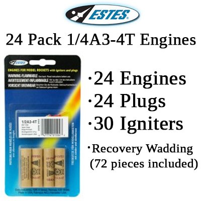 Estes 1/4A3-4T Model Rocket Engines (24 each)