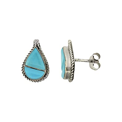 ca6885f49 Image Unavailable. Image not available for. Color: Sterling Silver  Handcrafted Blue Turquoise Teardrop Stud Earrings (Genuine Zuni ...