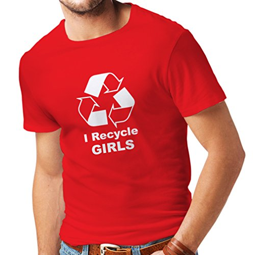 N4036 I Recycle Girls Funny t-Shirt (XL, Red White)