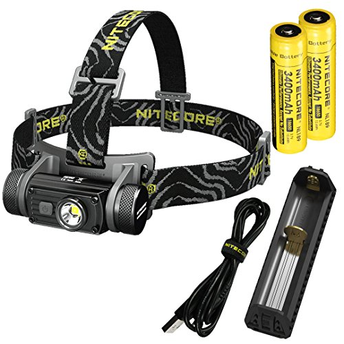 Nitecore HC60 Neutral White 1000 Lumen USB Rechargeable LED Headlamp with 2X 3400 mAh Rechargable Batteries, Charger and LumenTac ()