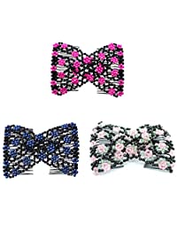 Lovef 3Pcs Assorted Color Easy Comb Stretchy Beaded Hair Comb Crystal Bow Double Comb Hair Head Comb Cuff Double Clip Good Gift