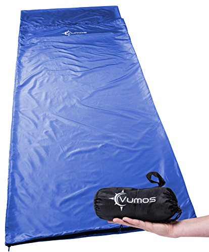 (Vumos Sleeping Bag Liner and Camping Sheet – Use as a Lightweight Sleep Sack When You Travel - Has Full Length Zipper (Blue))