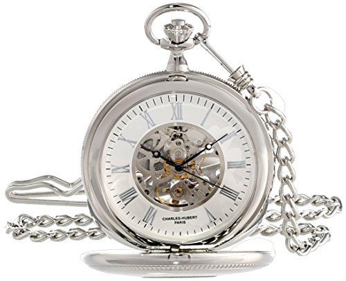 (Charles-Hubert, Paris 3953-W Classic Collection Analog Display Mechanical Hand Wind Pocket Watch)