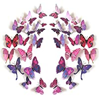 JYPHM 24PCS Butterfly Wall Decal Removable Refrigerator Magnets Mural Stickers 3D Wall Stickers for Kids Home Room Nursery Decoration Wall Art