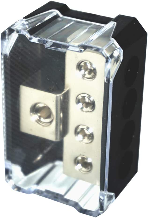 4-Way 0GA to 4GA Power//Ground Wire Distribution Block for Audio Amp Systems