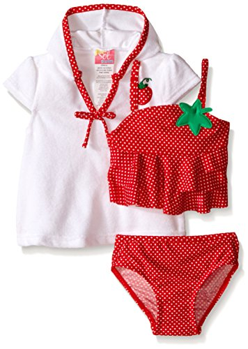 Sol Swim Baby Strawberry Doll Swimsuit with Terry Cover Up, Red, 12 Months
