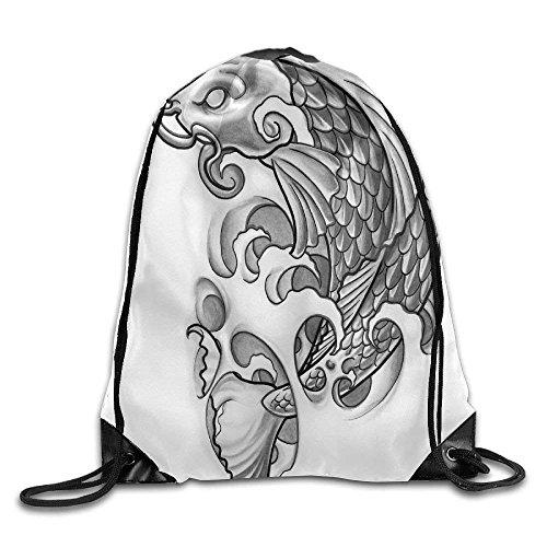 Gray Brocade Carp Print Drawstring Backpack Rucksack Shoulder Bags Gym Bag Sport Bag