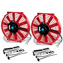 10 Inch High Performance Red Electric Radiator Cooling Fan Assembly Kit (Pack of 2)
