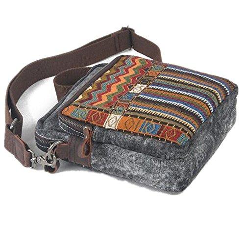 Bestfort Unisex canvas Leder Tasche Umhängetasche Messenger Bag literarischen Tasche Retro Art Alltag (Blau) Grau c5a0EhJskO