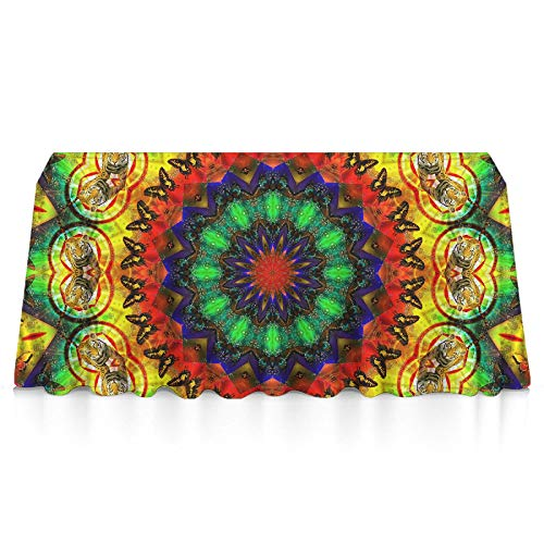 Rectangle Tablecloth - 60x90 Inch - Colorful Kaleidoscope Dye Tie Weed Mandala Table Cloth in Washable Polyester - Great for Buffet Table, Parties, Holiday Dinner, Wedding & More