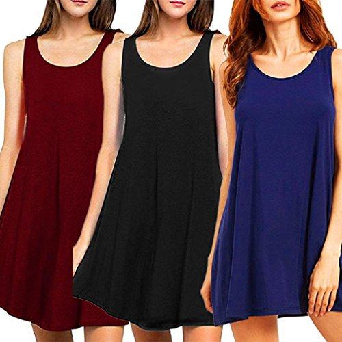 Ouneed Moda mujeres sin mangas de color sólido Vestido de verano casual Negro