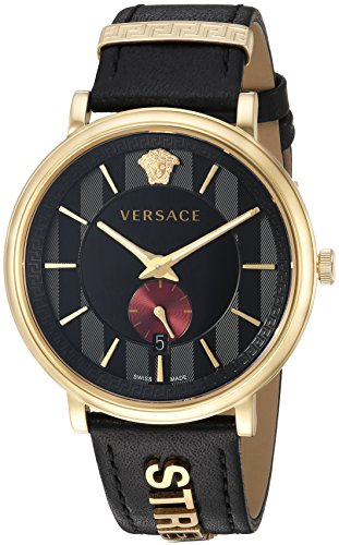 Versace Men's 'MANIFESTO EDITION' Swiss Quartz Stainless Steel and Leather Casual Watch, Color Black (Model: VBQ050017)