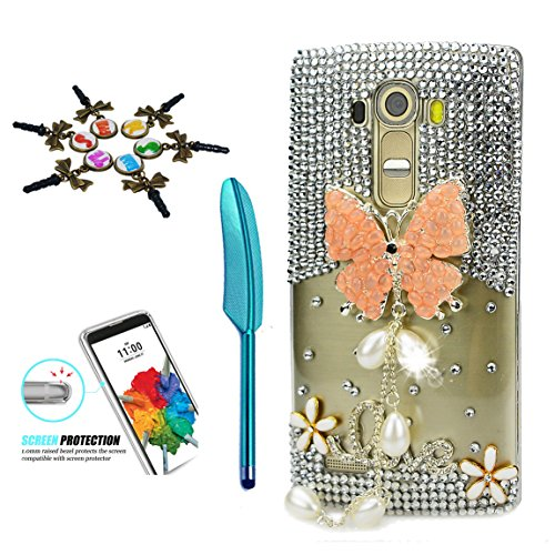STENES LG Stylo 3 Case - 3D Handmade Crystal Sparkle Diamond Hybrid Cover for LG Stylo 3/Stylo 3 Plus/LG LS777 with Anti Dust Plug & Stylus Pen - Pretty Butterfly Pearl Pendant Flowers Love/Orange