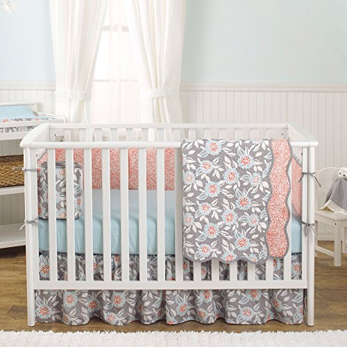 Grey Dahlia 4 In 1 Baby Girl Crib Bedding Collection By