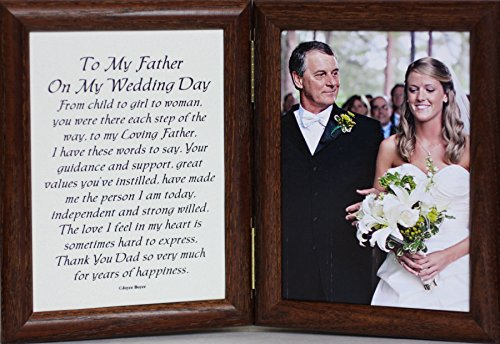 PersonalizedbyJoyceBoyce.com 5x7 Hinged to My Father ON My Wedding Day Poem ~ Gift Frame for The Father of The Bride! (Walnut)