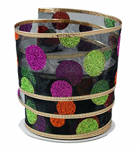 Glitter Halloween Polka Dots on Black Sheer Wired Ribbon #40-2.5in x 10 yards by Party Explosions