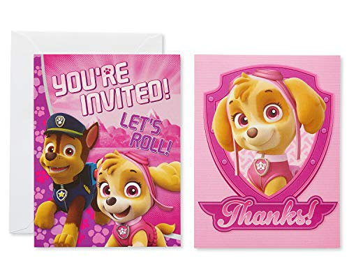 American Greetings Nickelodeon Paw Patrol Invite and Thank You Combo Pack, - Party Invitations Rescue Birthday