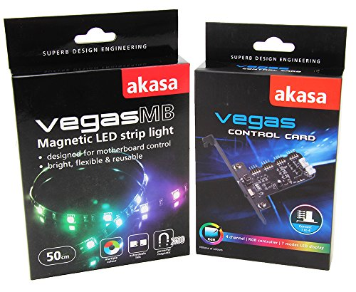 Combo Pack Akasa Vegas control card & Akasa Vegas Magnetic LED 50cm Light Strip -Multiple Color by Akasa
