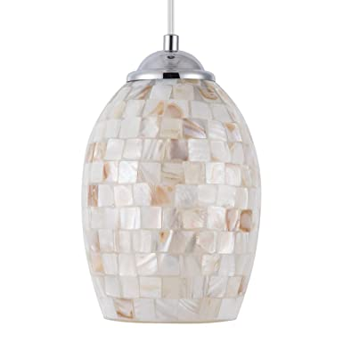 SHENGYADI Coast Mini Pendant Light with Hand Crafted Mosaic Shell Shape Modern Glass Pendant Lighting for Kitchen Island Living Room Bedroom Bar Cafe Shop, Chrome Finish