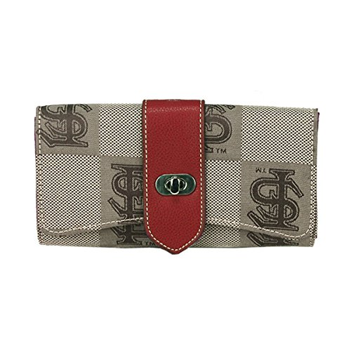 Florida State Seminoles Garnet Leather and Brown Jacquard Fabric Ladies Signature Wallet - State Brown Leather