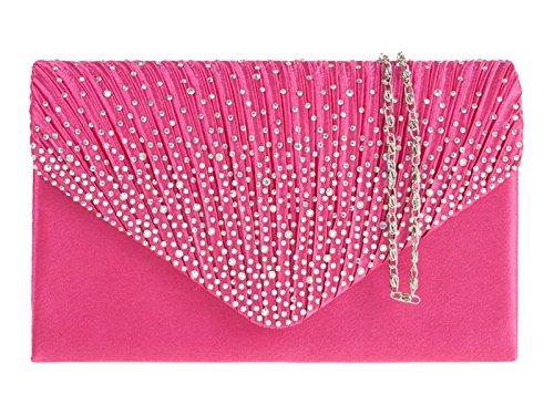LADIES CLUTCH EVENING HANDBAG BLING PARTY PROM HAND BRIDAL Fuchsia PURSE BAG fi9 Pink DIAMANTE dFq14pd0