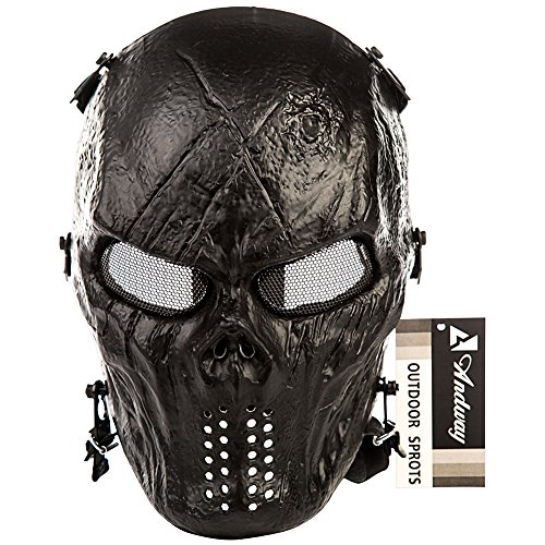 Andway® Skull Skeleton Full Face Protective Mask Gear For Airsoft/BB Gun/ CS Game and Party (Black) (Paintball Gun Mask compare prices)