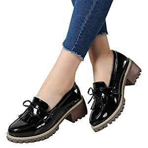 DADAWEN Women's Classic Tassel Slip-On Platform Mid-Heel Square Toe Oxfords Dress Shoes