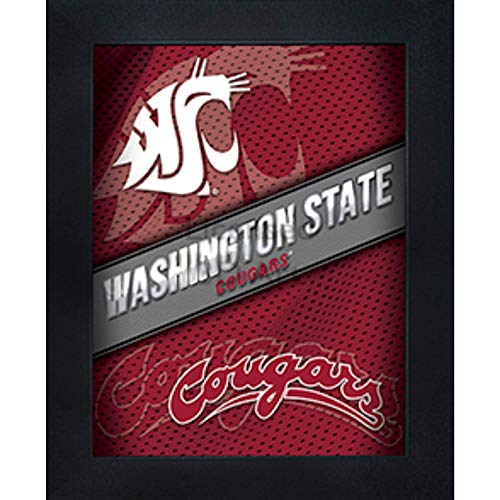 Washington State Cougars 3D Poster Wall Art Decor Framed Print | 14.5x18.5 | WSA Lenticular Posters & Pictures | Gifts for Guys & Girls College Dorm Room & Bedroom | NCAA Wazzu Team Fan Logo & Mascot