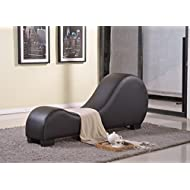 Container Furniture Direct Divine Collection Modern Upholstered Faux Leather Curved Yoga Chaise Lounge, Dark Brown