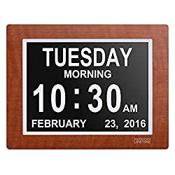 [Newest Version] Day Clock - Extra Large Impaired Vision Digital Clock with 4 Alarm Options & Battery Backup - Premium Mahogany Color
