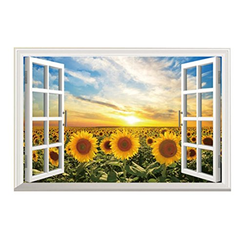 Amtoodopin 3D Sunflower Fake Windows Wall Stickers Landscape Faux Windows Wall Decal Removable Wall Decor Livingroom Bedroom (Sunflower 23.6x35.4 inch)