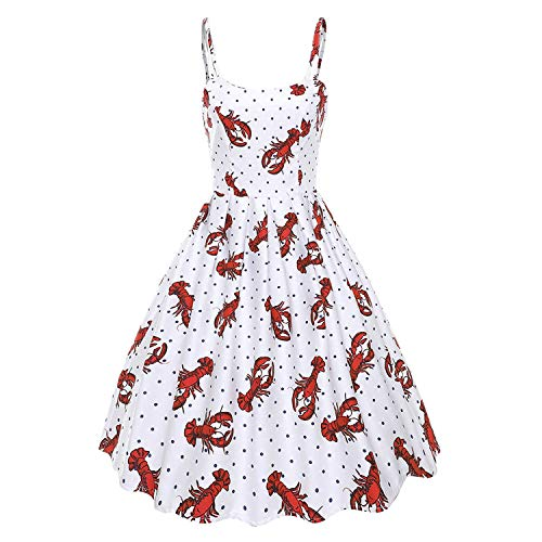 Vintage Women Dress Halloween Spaghetti Strap Print Dress