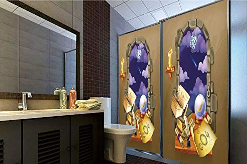 (No Glue Static Cling Glass Sticker,Astrology,Medieval Ancient Castle Window with Crystal Ball Clouds Parchment Decorative,Teal Grey White and Purple,39.37