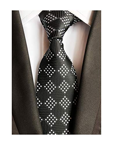 Mens Narrow Black Geometry Check Woven Silk Ties Regular Soft Big Boys Neckties
