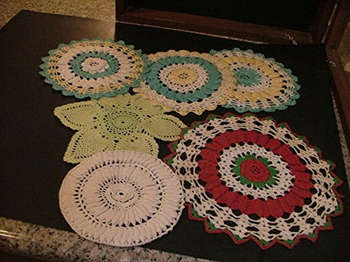 7 Antique Hand Made Crocheted 2-Dimensional Doilies