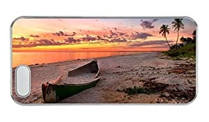 Customized iphone 5 grove cases The sunset beach scenery the sea the broken boat the red clouds PC Transparent for Apple iPhone 5/5S