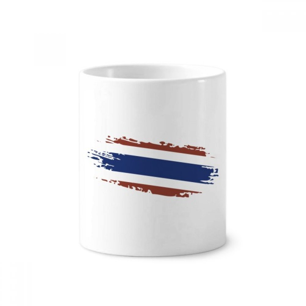 Thai Bangkok Thailand Flag Art Illustration Toothbrush Pen Holder Mug White Ceramic Cup 12oz by DIYthinker