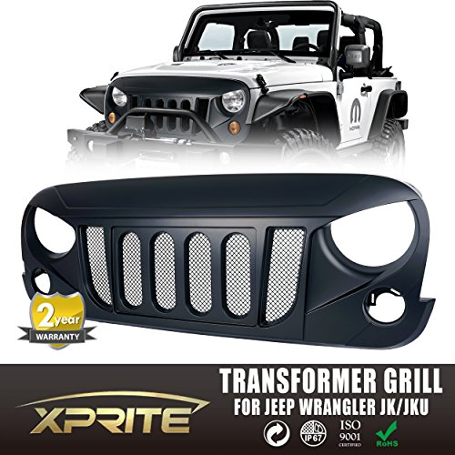 Xprite Front Matte Black Transformer Grille Grid Grill W/ Mesh Insert For Jeep Wrangler Rubicon Sahara Sport JK 2007-2017